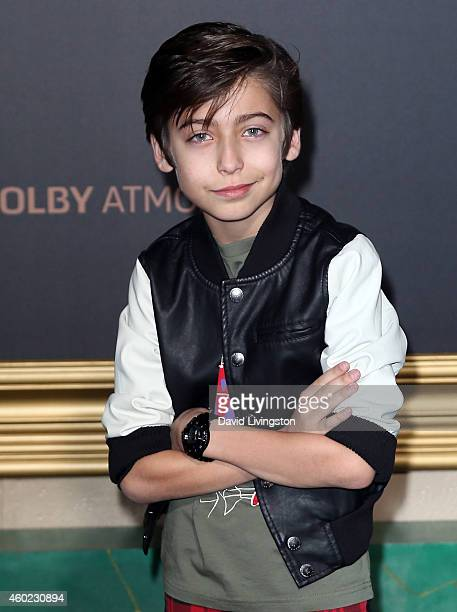 Actor Aidan Gallagher attends the premiere of New Line Cinema MGM Pictures and Warner Bros Pictures' The Hobbit The Battle of the Five Armies at the...