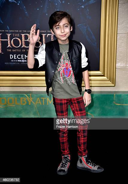 Actor Aidan Gallagher attends the premiere of New Line Cinema MGM Pictures And Warner Bros Pictures' The Hobbit The Battle Of The Five Armies at...