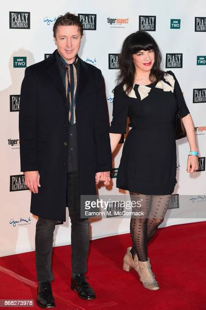 Actor Aidan Gillen and girlfriend Camille O'Sullivan attend the Birmingham Premiere of Peaky Blinders at cineworld on October 30 2017 in Birmingham...