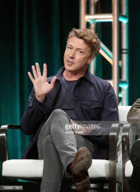Actor Aidan Gillen of 'Project Blue Book' speaks onstage during The 2018 Summer Television Critics Association Press Tour on July 26 2018 in Los...