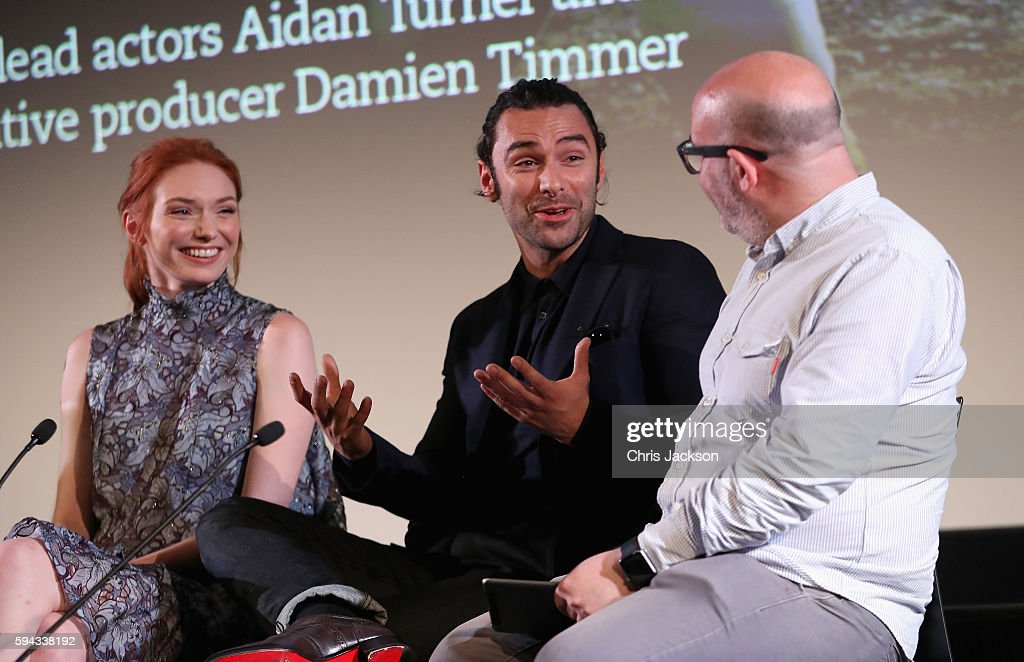 Actor Aidan Turne and actress Eleanor Tomlinson in a question and answer session after a screening of Poldark Series 2 at the BFI on August 22, 2016 in London, England.
