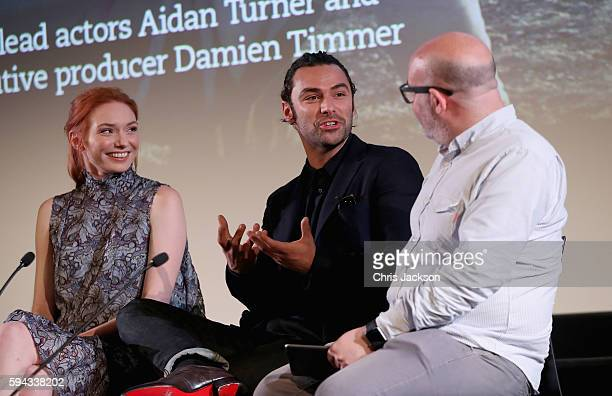 Actor Aidan Turne and actress Eleanor Tomlinson in a question and answer session after a screening of Poldark Series 2 at the BFI on August 22 2016...