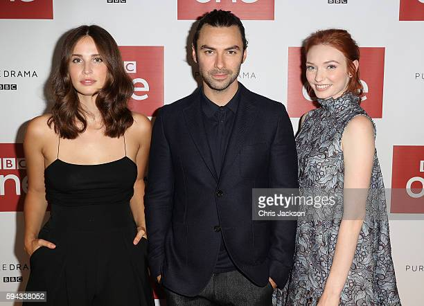Actor Aidan Turner actress Heida Reed and actress Eleanor Tomlinson pose for a portrait at the Poldark Series 2 Preview Screening at the BFI on...