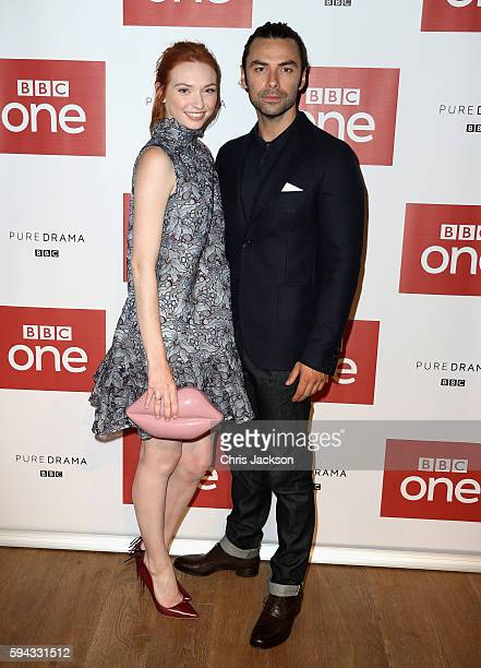 Actor Aidan Turner and actress Eleanor Tomlinson pose for a portrait at the Poldark Series 2 Preview Screening at the BFI on August 22 2016 in London...