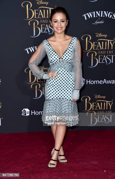 Actor Aimee Carrero attends Disney's 'Beauty and the Beast' premiere at El Capitan Theatre on March 2 2017 in Los Angeles California