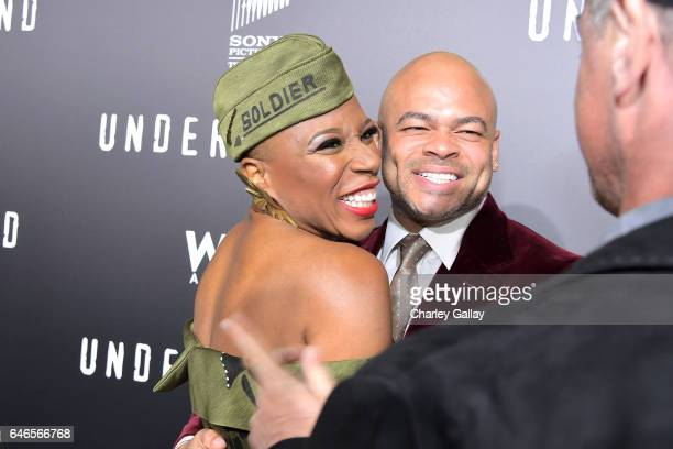 Actor Aisha Hinds and director Anthony Hemingway attend WGN America's Underground Season Two Premiere Screening at Regency Village Theatre on March 1...