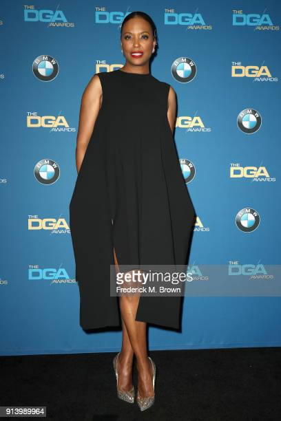 Actor Aisha Tyler poses in the press room during the 70th Annual Directors Guild Of America Awards at The Beverly Hilton Hotel on February 3 2018 in...