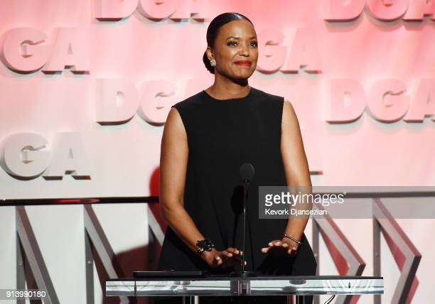 Actor Aisha Tyler speaks onstage during the 70th Annual Directors Guild Of America Awards at The Beverly Hilton Hotel on February 3 2018 in Beverly...