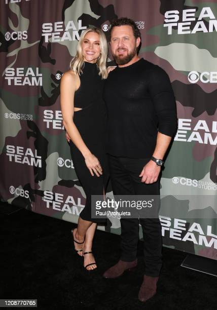 Actor AJ Buckley and Abigail Ochse attend the screening of CBS' Seal Team at ArcLight Hollywood on February 25 2020 in Hollywood California