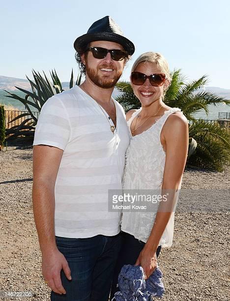 Actor AJ Buckley and Abigail Ochse visit the Sea of Galilee on June 2 2012 in Capernaum Israel