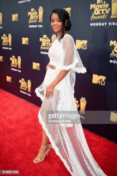 Actor Ajiona Alexus attends the 2018 MTV Movie And TV Awards at Barker Hangar on June 16 2018 in Santa Monica California