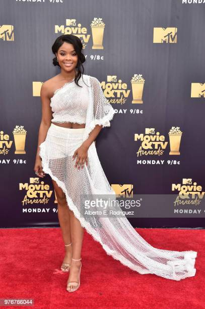 Actor Ajiona Alexus attends the 2018 MTV Movie And TV Awards at Barker Hangar on June 16 2018 in Santa Monica California