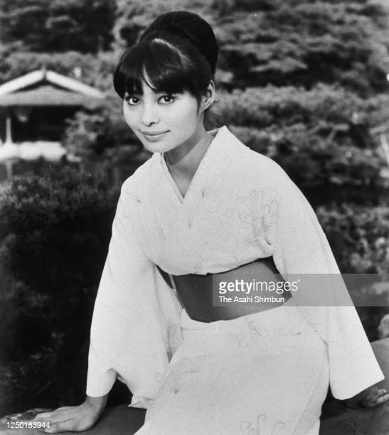Actor Akiko Wakabayashi poses for photographs during the Asahi Shimbun interview on June 17, 1966 in Japan.