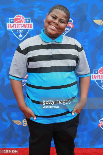 Actor Akinyele Caldwell attends the LA Fleet Week 5 On 5 Bassketball Tournament Celebrities Vs Champs at USS Iowa Museum on September 2 2018 in San...