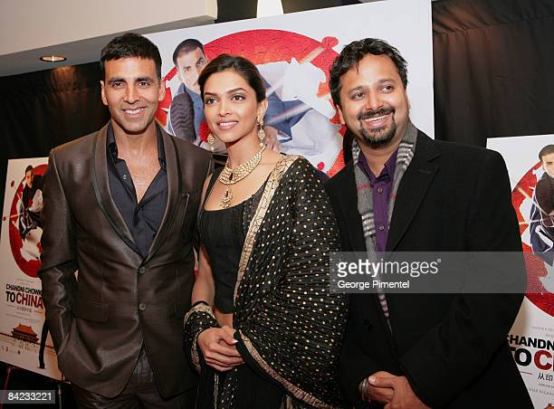 Actor Akshay Kumar actress Deepika Padukone and director Nikhil Advani arrives at the Canadian Premiere of the Warner Bros release for the Bollywood...