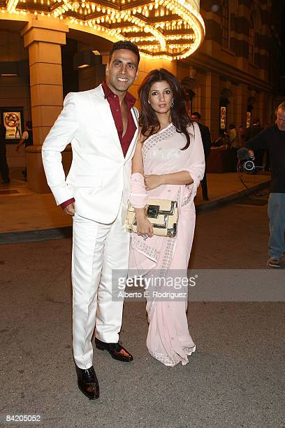 Actor Akshay Kumar and wire Twinkle Khanna arrive at a special screening of Warner Bros's Chandni Chowk to China on the Warner Bros Studio lot on...