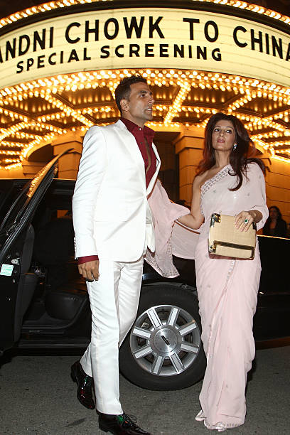Actor Akshay Kumar and wire Twinkle Khanna arrive at a special screening of Warner Bros`s `Chandni Chowk to China` on the Warner Bros Studio lot on...
