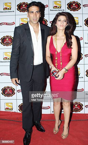 Actor Akshay Kumar with wife Twinkle at the Max Stardust Awards 2010 at Bandra Kurla Complex Grounds on Sunday January 17 2010