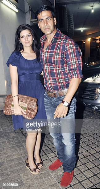 Actor Akshay Kumar with wife Twinkle at the premiere of the film Blue in Mumbai on Thursday October 15 2009