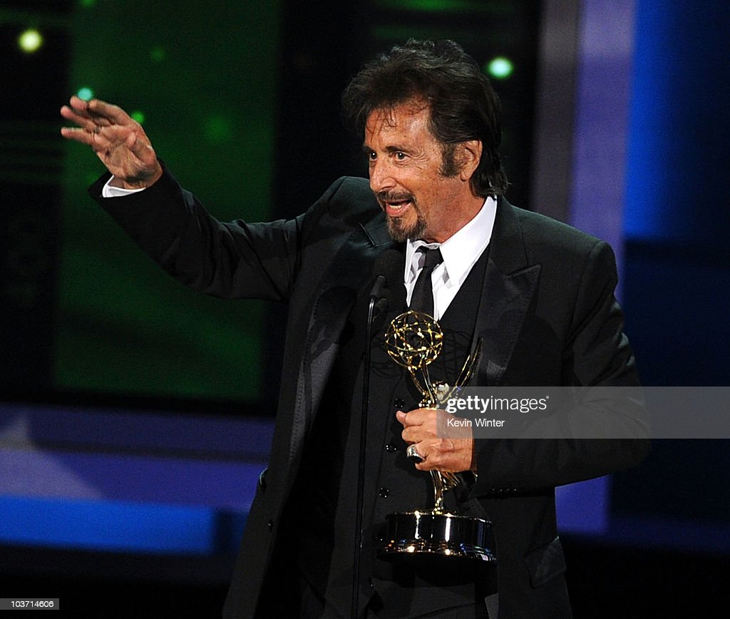 Actor Al Pacino accepts the Outstanding Lead Actor in a Miniseries or Movie award for 'You Don't Know Jack' onstage at the 62nd Annual Primetime Emmy Awards held at the Nokia Theatre L.A. Live on August 29, 2010 in Los Angeles, California.