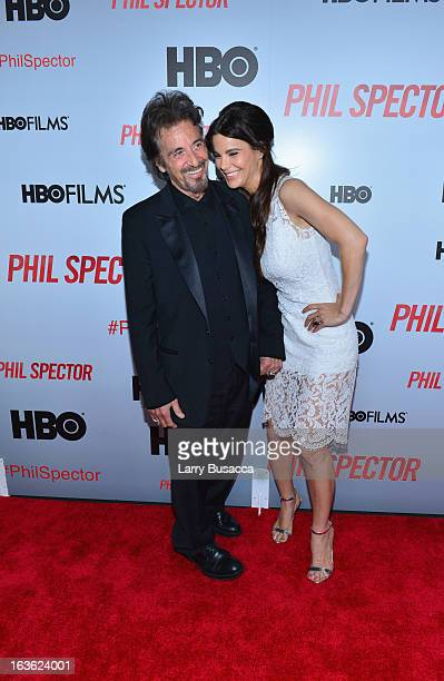 Actor Al Pacino and actress Lucila Sola attend the 'Phil Spector' premiere at the Time Warner Center on March 13 2013 in New York City