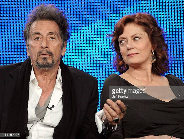 """Actor Al Pacino and actress Susan Sarandon of """"You Don't Know Jack"""" speak during the HBO portion of the 2010 Television Critics Association Press..."""
