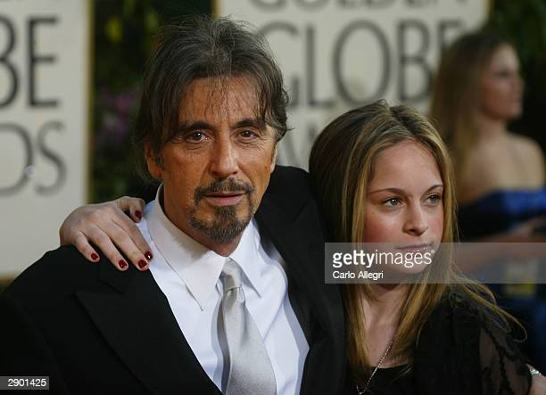 Actor Al Pacino and his Daughter attend the 61st Annual Golden Globe Awards at the Beverly Hilton Hotel on January 25 2004 in Beverly Hills California