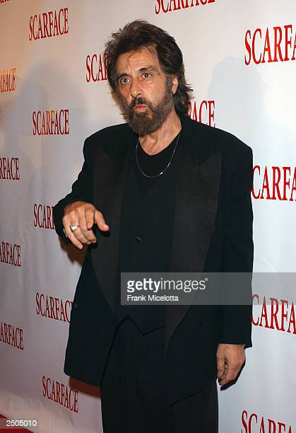 Actor Al Pacino arrives at the 20th anniversary rerelease celebration of the movie Scarface at City Cinemas Theaters September 17 2003 in New York...