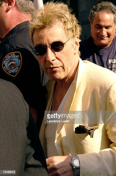 Actor Al Pacino arrives at the Ed Sullivan Theater for a taping of 'Late Show with David Letterman' on August 21 2002 in New York City