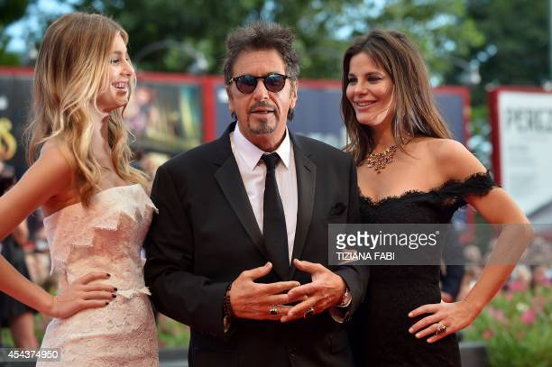 US actor Al Pacino arrives with Camila Sola and Lucila Sola for the screening of the movie 'Manglehorn' presented in competition at the 71st Venice...