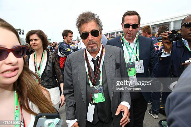 Actor Al Pacino attends the Canadian Formula One Grand Prix at Circuit Gilles Villeneuve on June 7 2015 in Montreal Canada