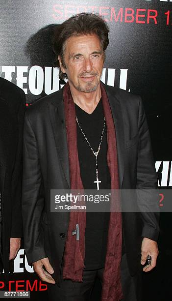 Actor Al Pacino attends the New York premiere of 'Righteous Kill' at the Ziegfeld Theater on September 10 2008 in New York City