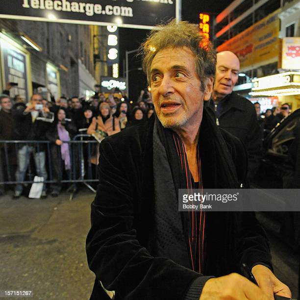Actor Al Pacino exiting the stage door for Glengarry Glen Ross at the Gerald Schoenfeld Theatre on November 28 2012 in New York City