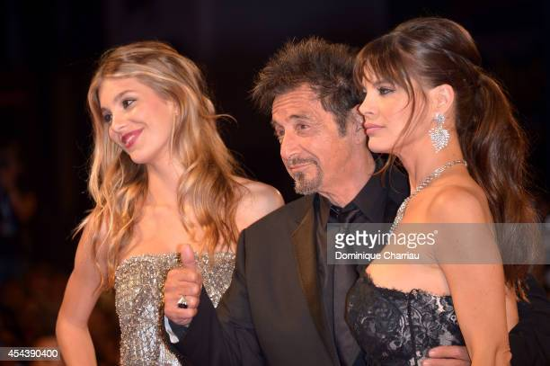 Actor Al Pacino girlfriend Lucila Sola and Camila Sola attend the 'The Humbling' premiere during the 71st Venice Film Festival on August 30 2014 in...