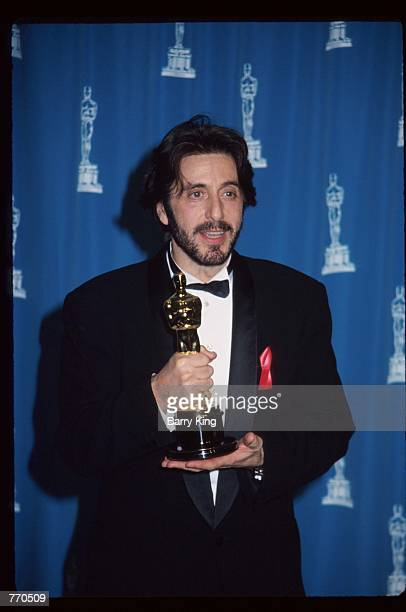 Actor Al Pacino holds an award statuette at the 65th annual Academy Awards March 29 1993 in Los Angeles CA Pacino received the Best Actor award for...