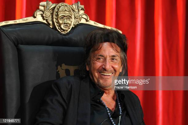 Actor Al Pacino on stage at the release of Scarface On Bluray at the Belasco Theatre on August 23 2011 in Los Angeles California