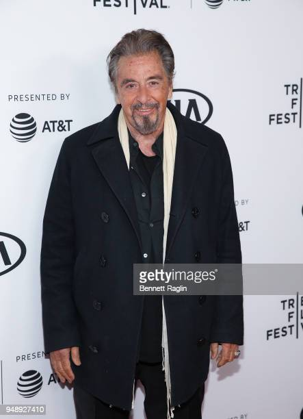 Actor Al Pacino poses for a picture during the 2018 Tribeca Film Festival Scarface reunion at the Beacon Theatre on April 19 2018 in New York City