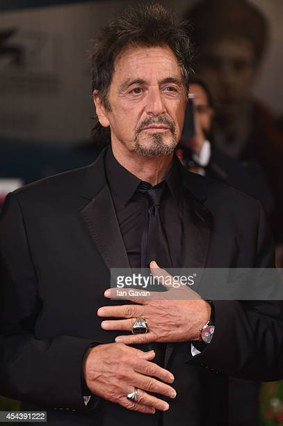 Actor Al Pacino wearing a JaegerLeCoultre watch attends the 'The Humbling' the premiere during the 71st Venice Film Festival at the Palazzo del...