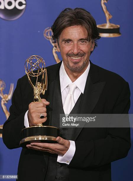 Actor Al Pacino winner for Outstanding Lead Actor in a Miniseries or Movie for Angels in America poses backstage with his Emmy during the 56th Annual...