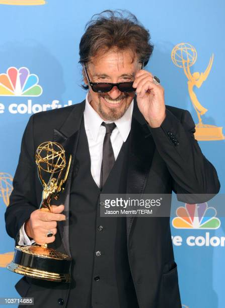 "Actor Al Pacino, winner of the Outstanding Lead Actor in a Miniseries or a Movie Award for ""You Don't Know Jack"" poses in the press room at the 62nd..."