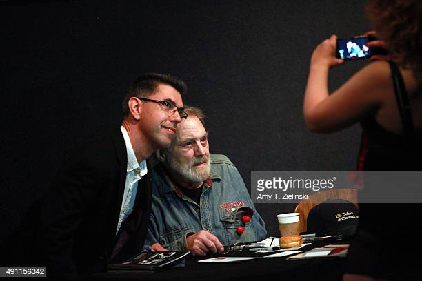 Actor Al Strobel who played on the TV series Twin Peaks the character Mike the 'onearmed man' poses with a fan during the sixth annual Twin Peaks UK...