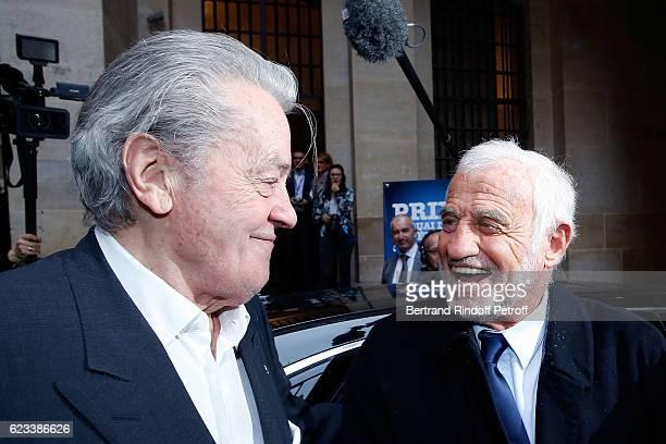 Actor Alain Delon and Actor JeanPaul Belmondo attend the 70 th Anniversary of 'Prix du Quai des Orfevres' at 36 quai des Orfevres on November 15 2016...