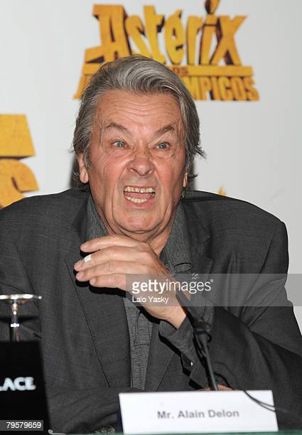 Actor Alain Delon attends a photocall and press conference for Asterix at the Olympic Games at the Palace Hotel on Febraury 6 2008 in Madrid Spain