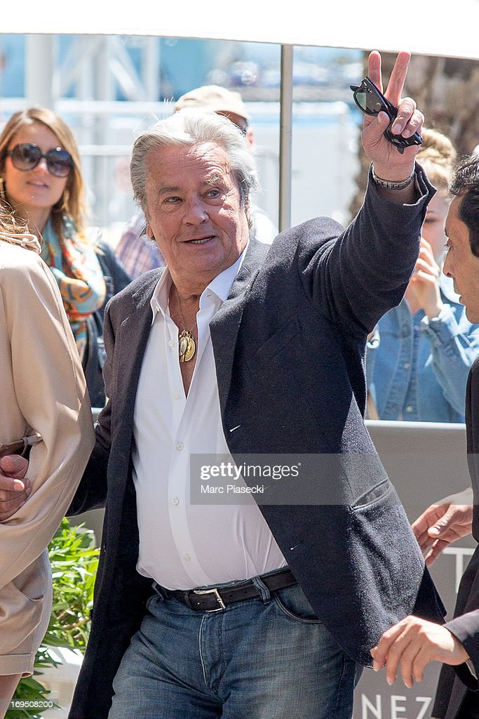 Actor Alain Delon is seen at the 'Grand Hyatt Cannes Hotel Martinez' during the 66th Annual Cannes Film Festival on May 26, 2013 in Cannes, France.