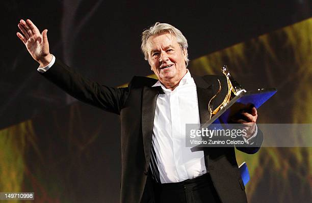 Actor Alain Delon receives the Life Achievement Award during the 65th Locarno Film Festival on August 2, 2012 in Locarno, Switzerland.