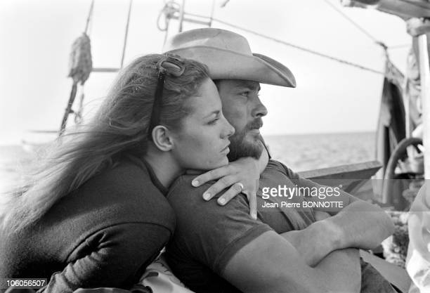 Actor Alain Delon relaxes with wife Nathalie during the shooting of the movie The Last Adventure directed by Robert Enrico in September 1966 in...