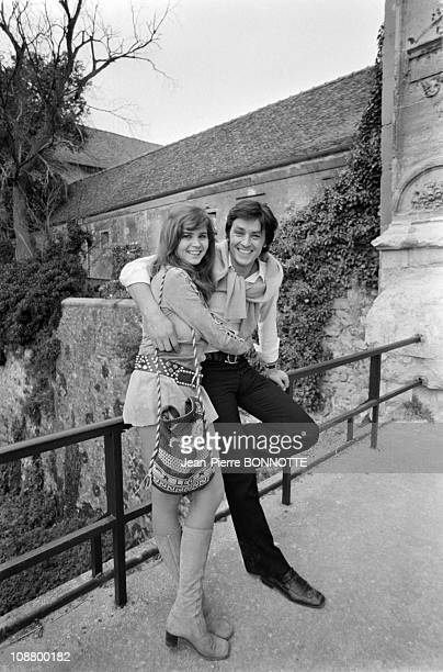 actor Alain Delon with actress Maria Schneider on the set of the movie Madly directed by Roger Kahane