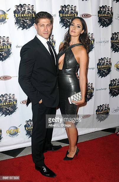 Actor Alain Moussi and actress Sara Malakul Lane arrive for the Premiere Of RLJ Entertainment's Kickboxer Vengeance held at iPic Theaters on August...