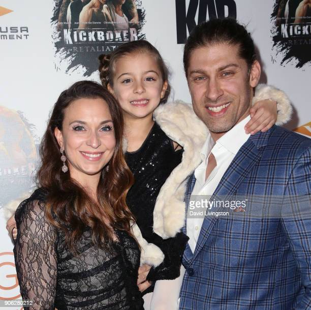 Actor Alain Moussi and family attend the premiere of Well Go USA Entertainment's 'Kickboxer Retaliation' at ArcLight Cinemas on January 17 2018 in...
