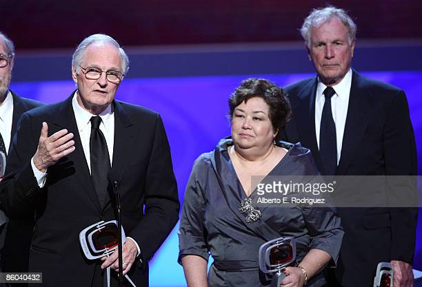 Actor Alan Alda, Actress Kellye Nakahara Wallet and Actor Wayne Rogers onstage at the 7th Annual TV Land Awards held at Gibson Amphitheatre on April...